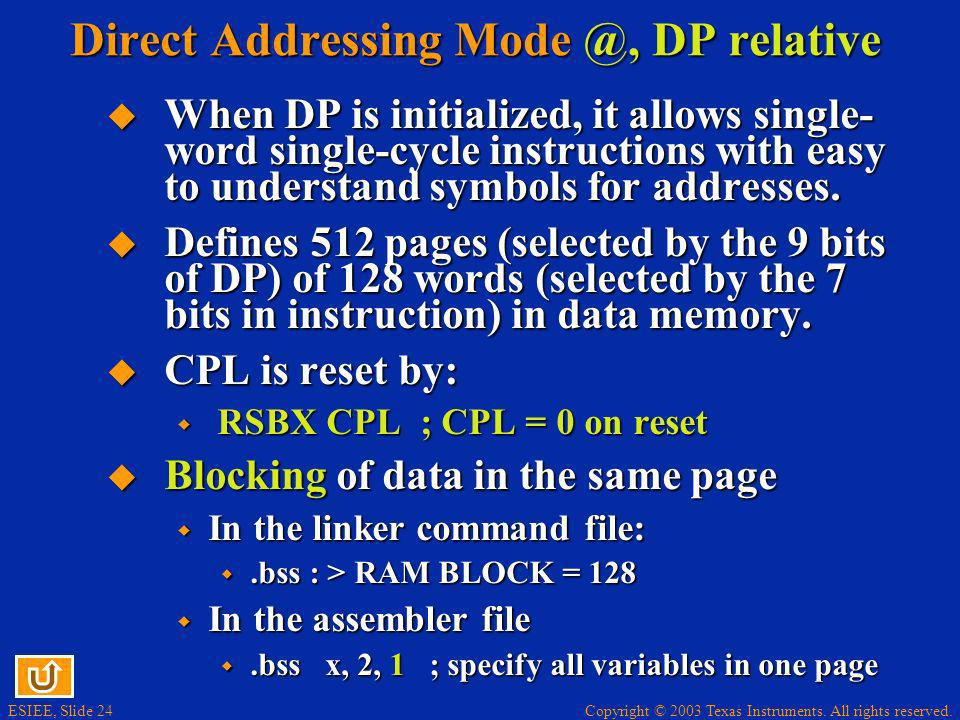 Direct Addressing Mode @, DP relative