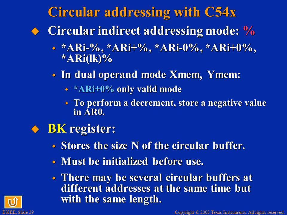 Circular addressing with C54x