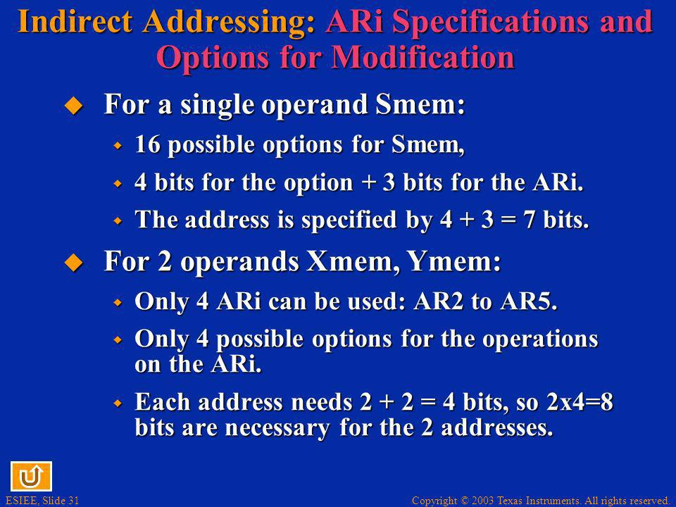 Indirect Addressing: ARi Specifications and Options for Modification