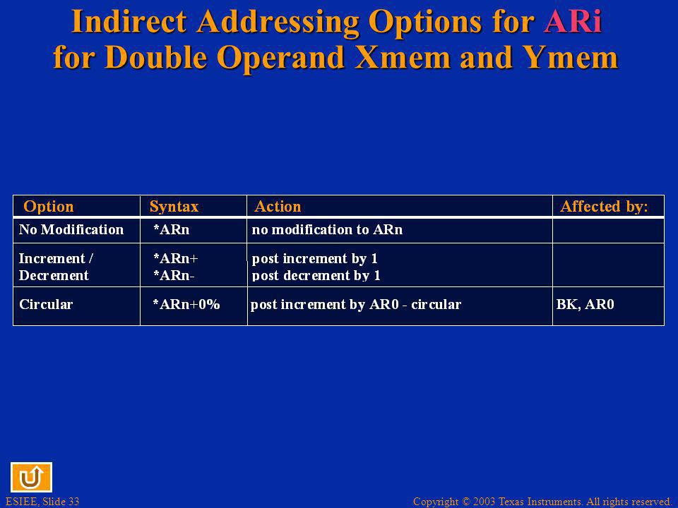 Indirect Addressing Options for ARi for Double Operand Xmem and Ymem