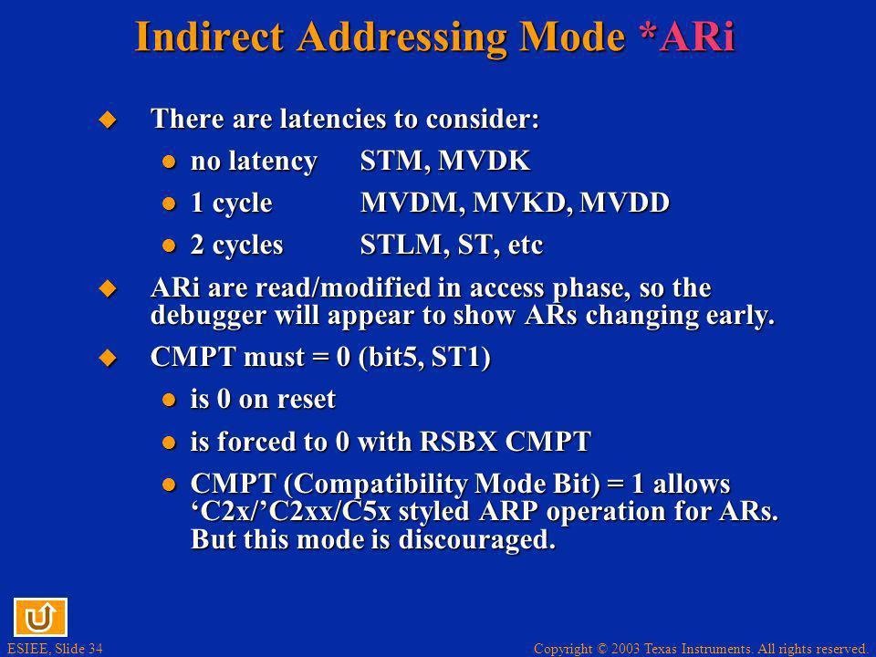 Indirect Addressing Mode *ARi