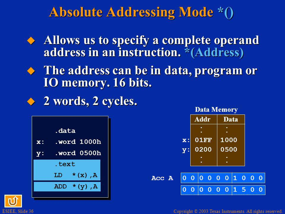 Absolute Addressing Mode *()