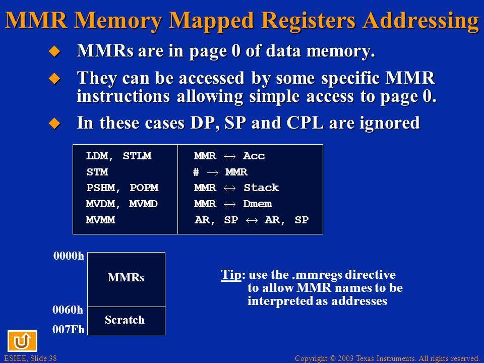 MMR Memory Mapped Registers Addressing