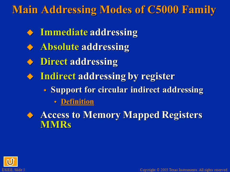 Main Addressing Modes of C5000 Family
