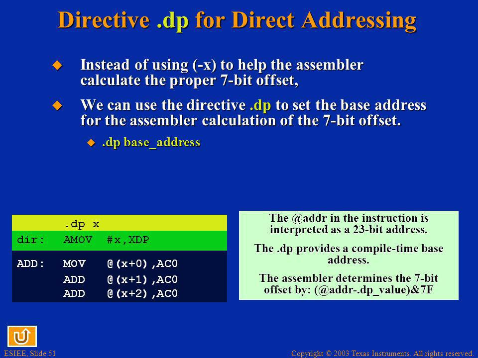Directive .dp for Direct Addressing