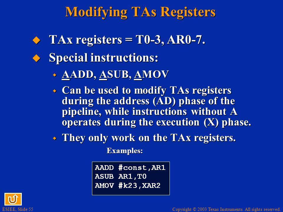 Modifying TAs Registers