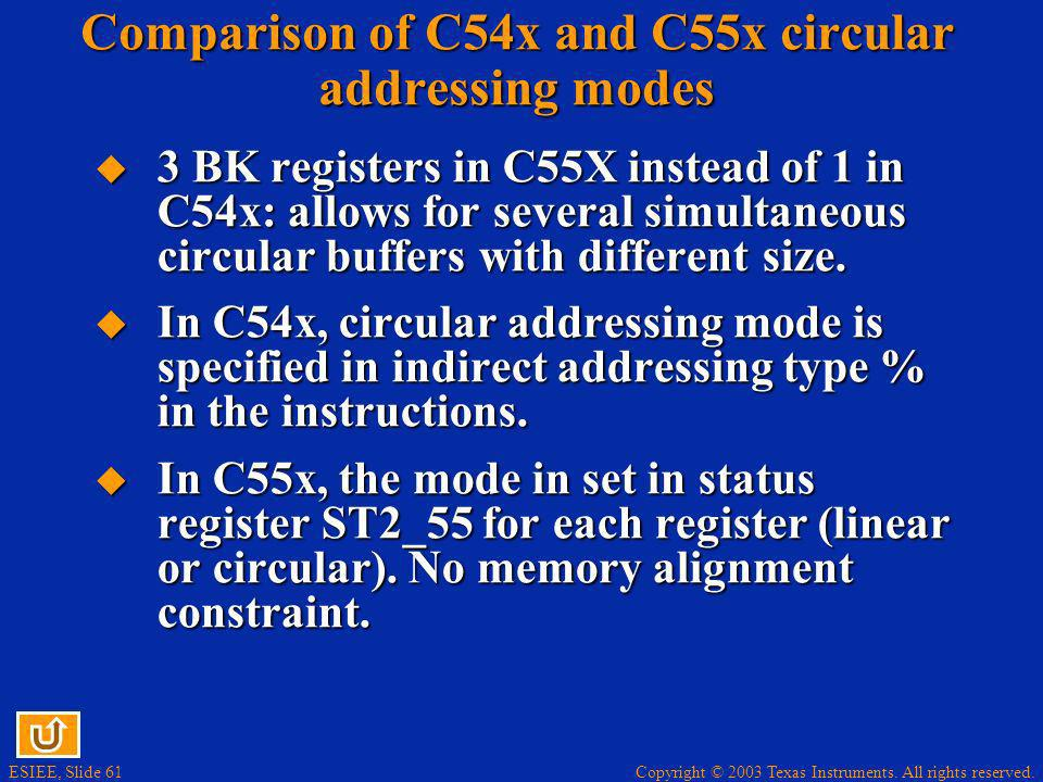 Comparison of C54x and C55x circular addressing modes