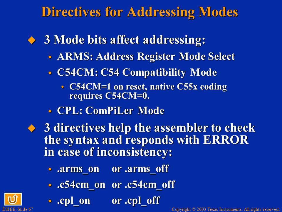 Directives for Addressing Modes