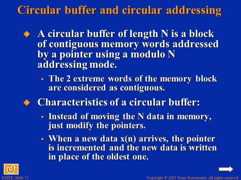 Circular buffer and circular addressing
