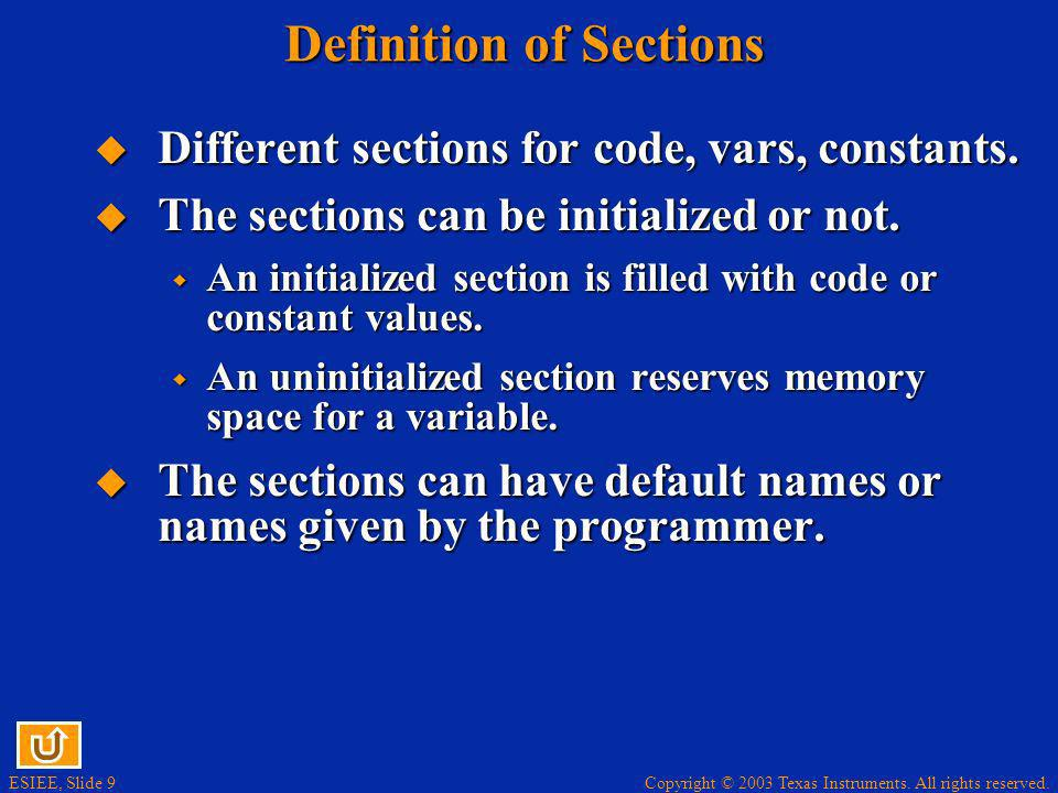 Definition of Sections