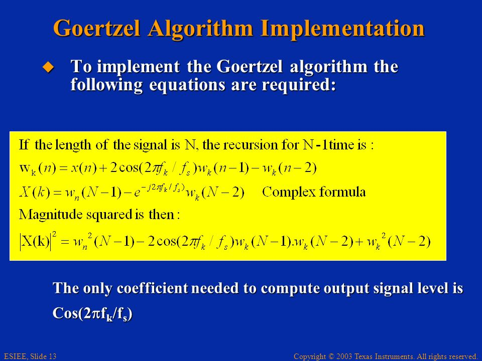 Goertzel Algorithm Implementation