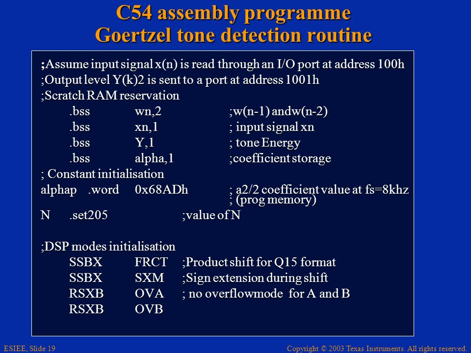 C54 assembly programme Goertzel tone detection routine