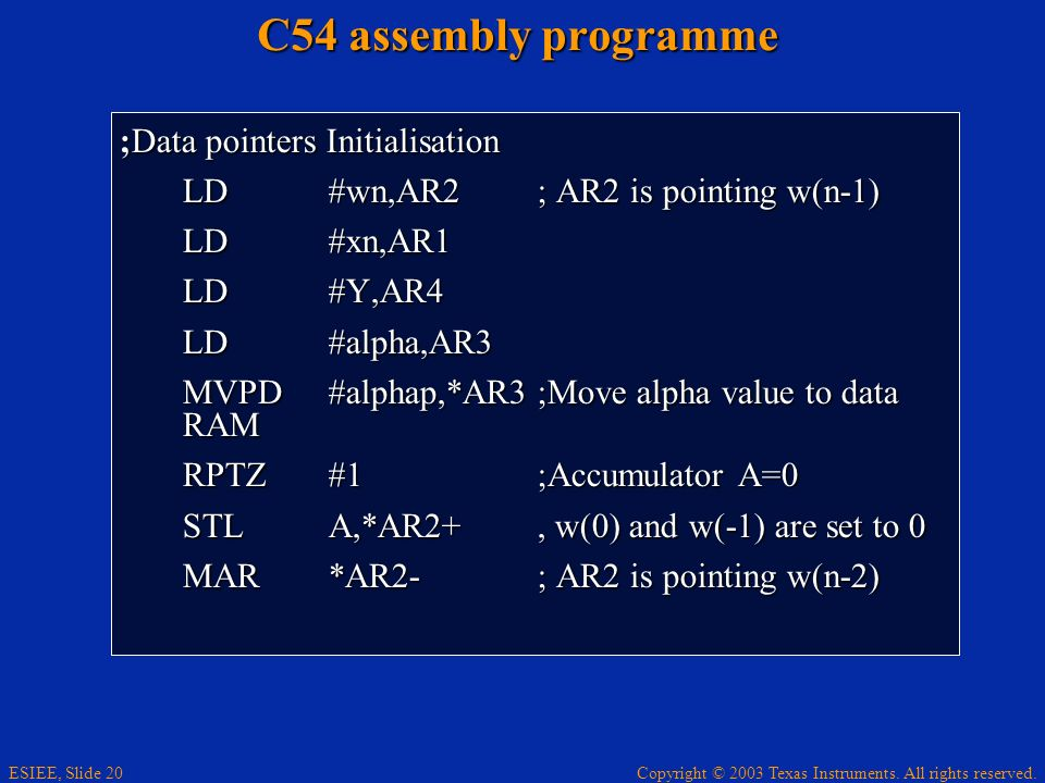 C54 assembly programme ;Data pointers Initialisation