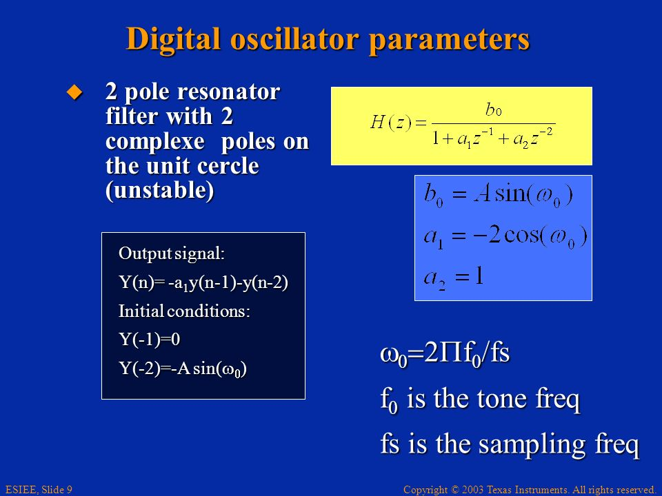 Digital oscillator parameters