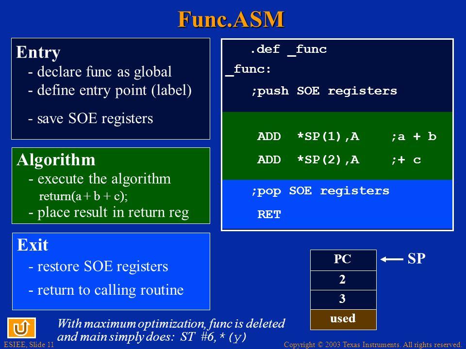 Func.ASM Entry Algorithm Exit