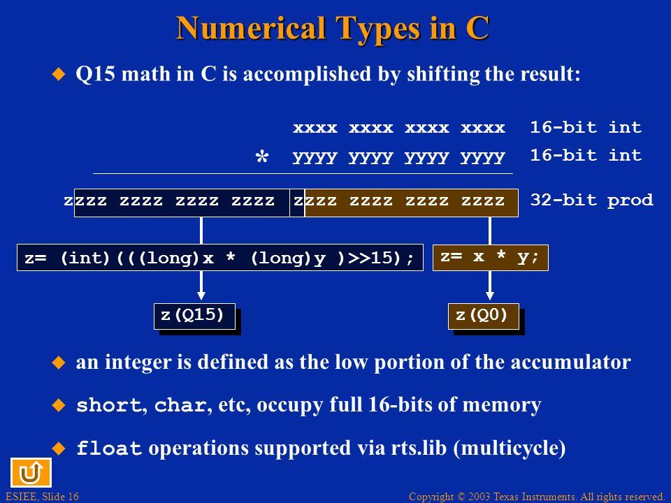 Numerical Types in C Q15 math in C is accomplished by shifting the result: xxxx xxxx xxxx xxxx. 16-bit int.