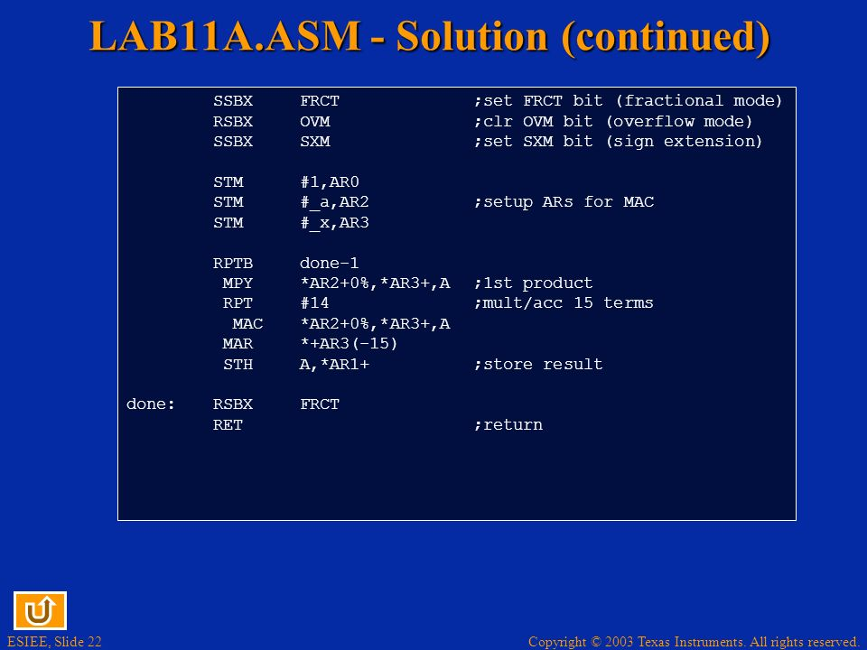 LAB11A.ASM - Solution (continued)