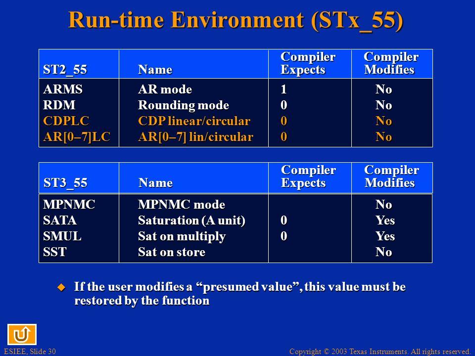 Run-time Environment (STx_55)