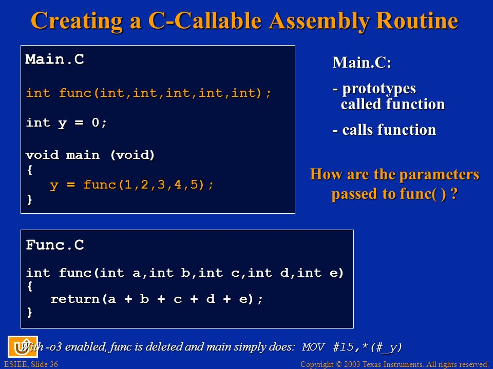 Creating a C-Callable Assembly Routine