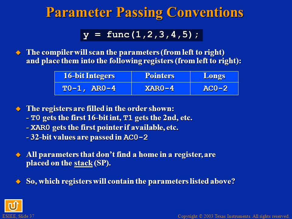 Parameter Passing Conventions