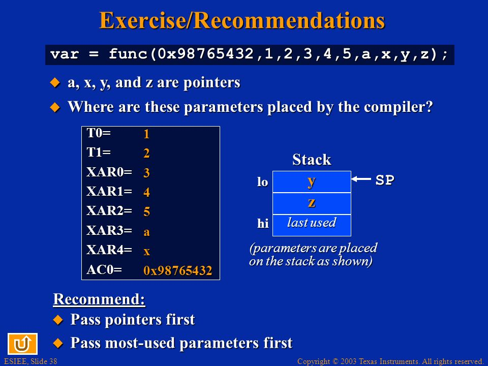 Exercise/Recommendations
