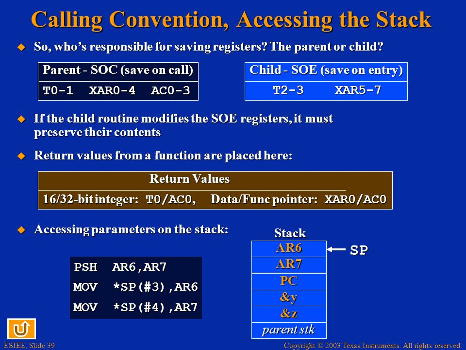 Calling Convention, Accessing the Stack