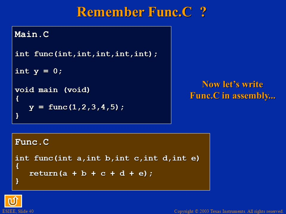 Now let's write Func.C in assembly...