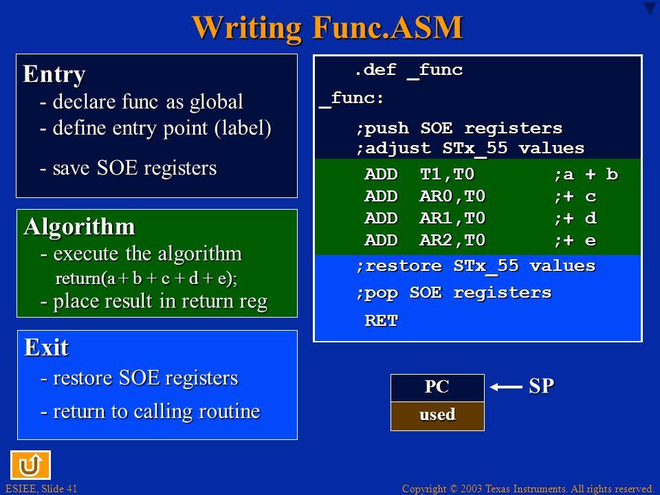 Writing Func.ASM Entry Algorithm Exit