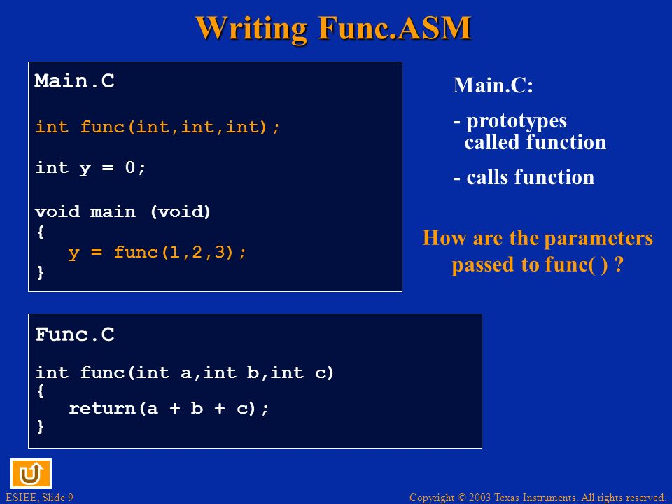 How are the parameters passed to func( )
