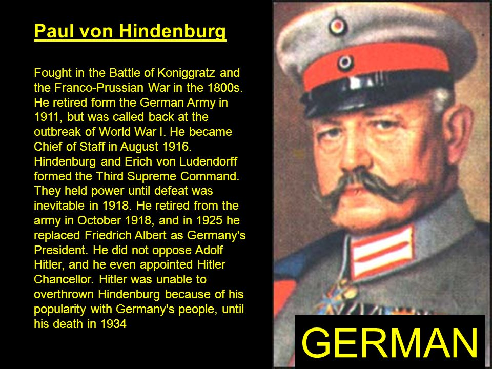 GERMAN Paul von Hindenburg