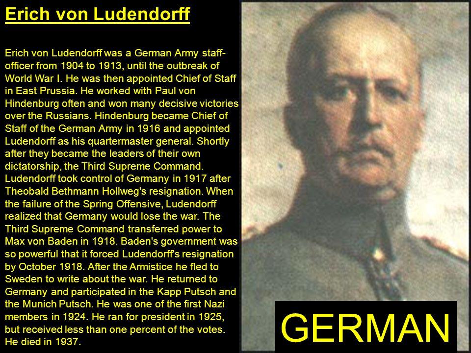 GERMAN Erich von Ludendorff