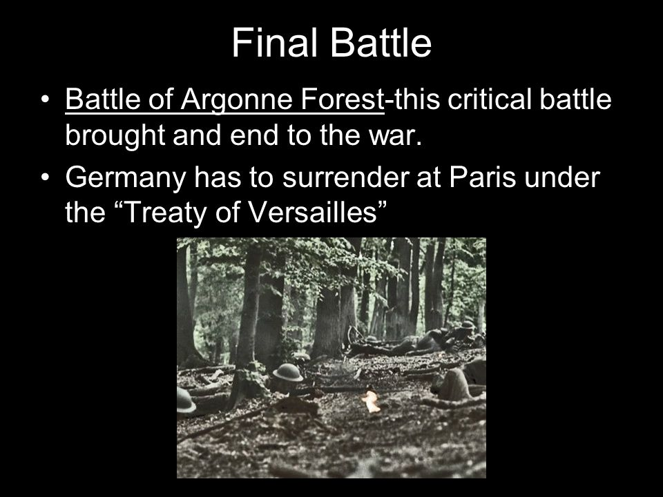 Final Battle Battle of Argonne Forest-this critical battle brought and end to the war.