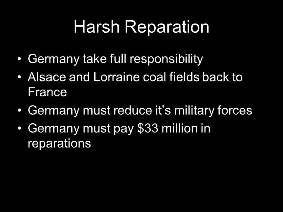 Harsh Reparation Germany take full responsibility