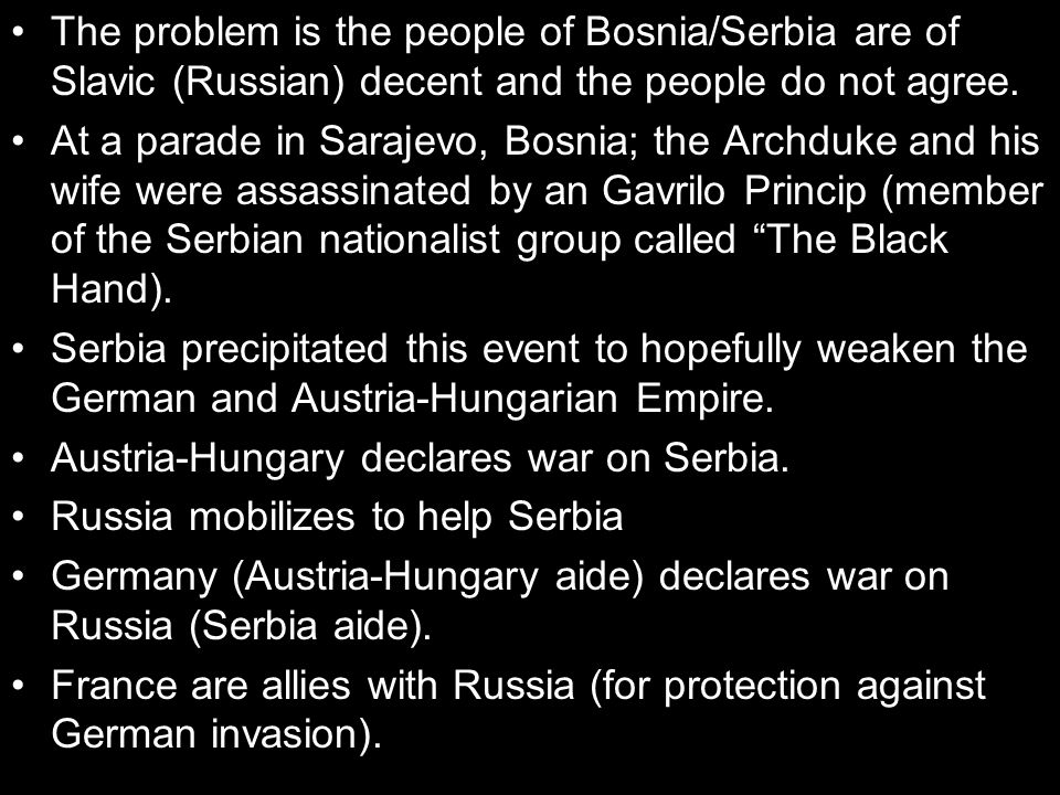The problem is the people of Bosnia/Serbia are of Slavic (Russian) decent and the people do not agree.