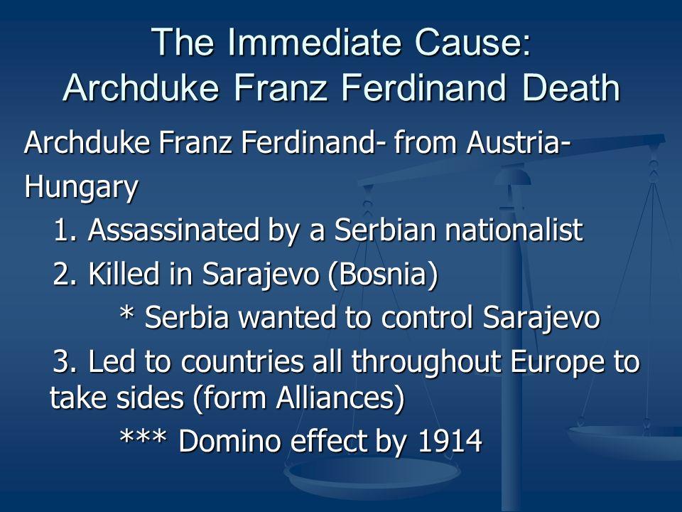 The Immediate Cause: Archduke Franz Ferdinand Death