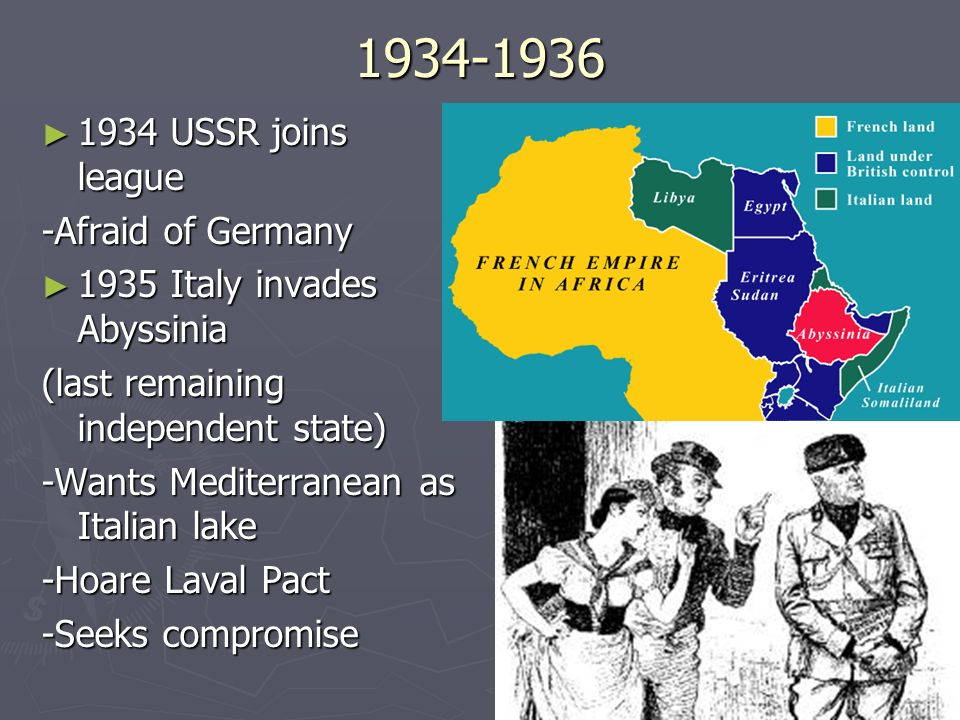 1934-1936 1934 USSR joins league -Afraid of Germany