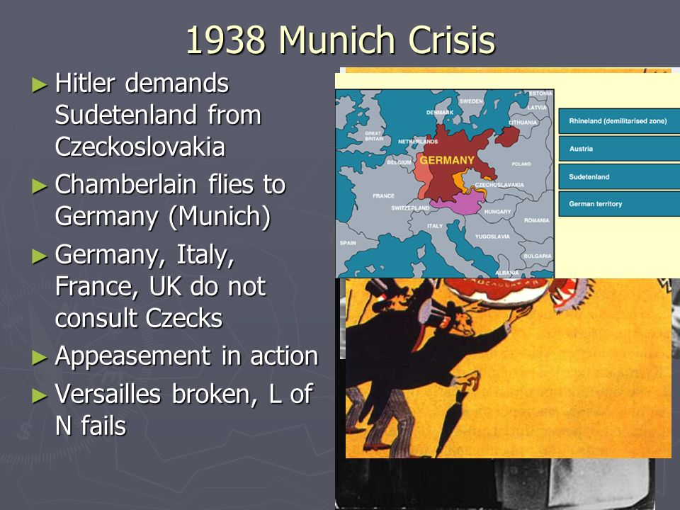 1938 Munich Crisis Hitler demands Sudetenland from Czeckoslovakia