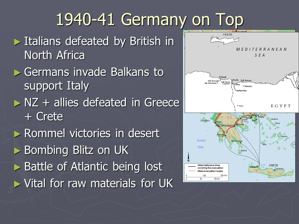 1940-41 Germany on Top Italians defeated by British in North Africa