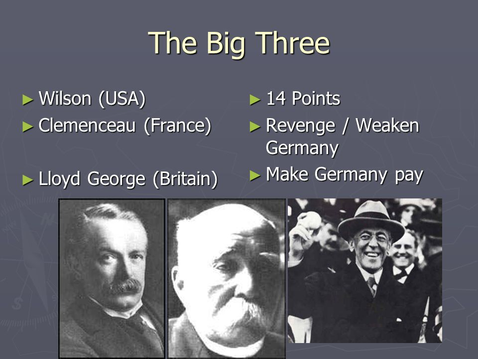 The Big Three Wilson (USA) Clemenceau (France) Lloyd George (Britain)