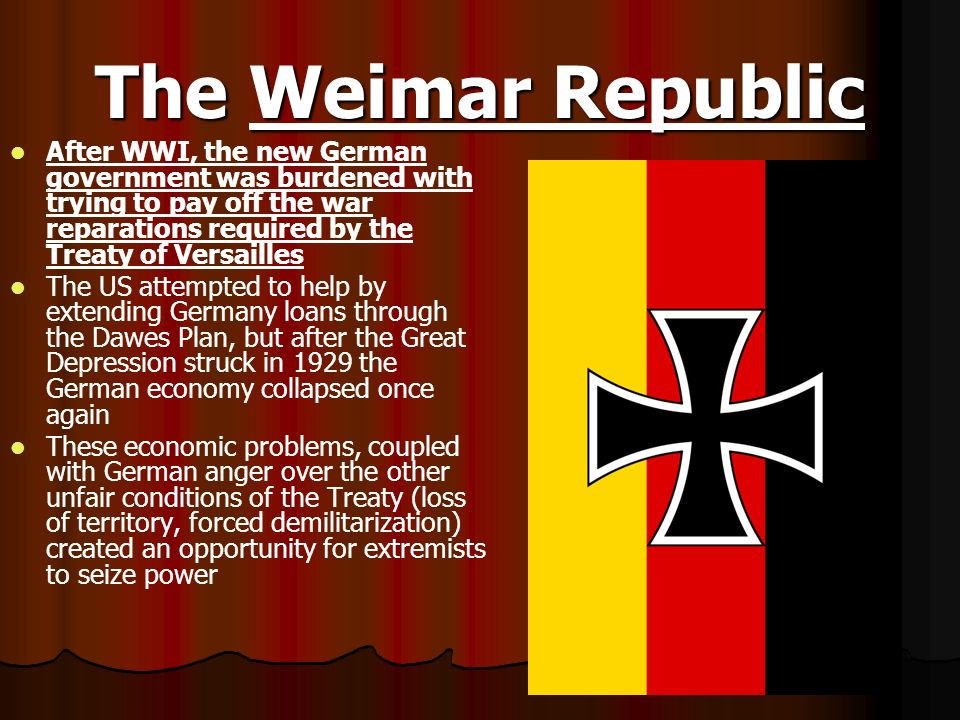 The Weimar Republic After WWI, the new German government was burdened with trying to pay off the war reparations required by the Treaty of Versailles.