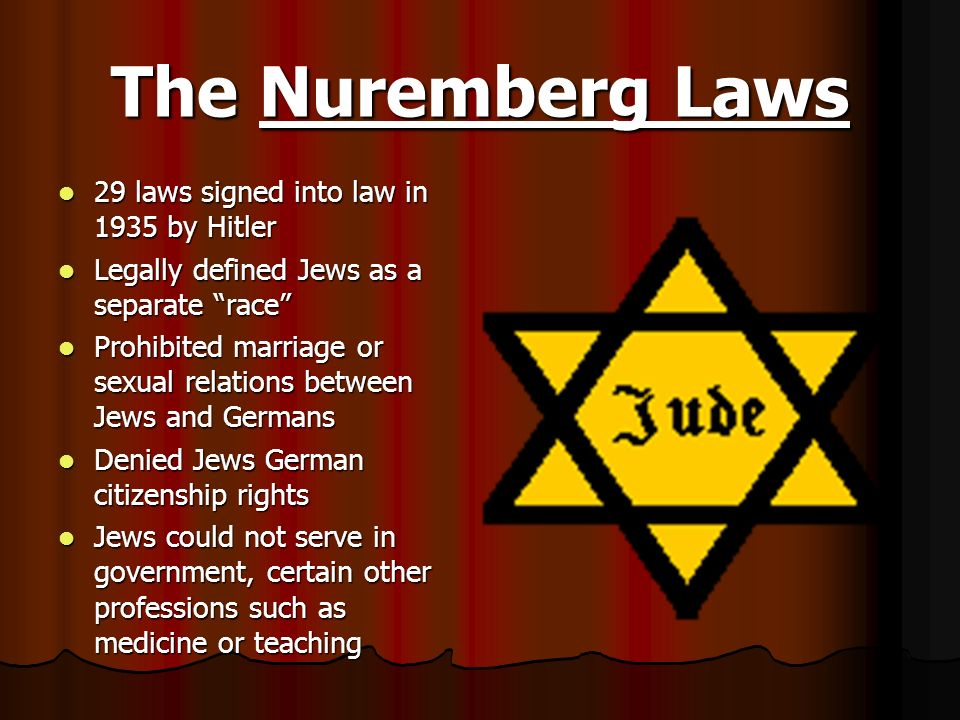 The Nuremberg Laws 29 laws signed into law in 1935 by Hitler