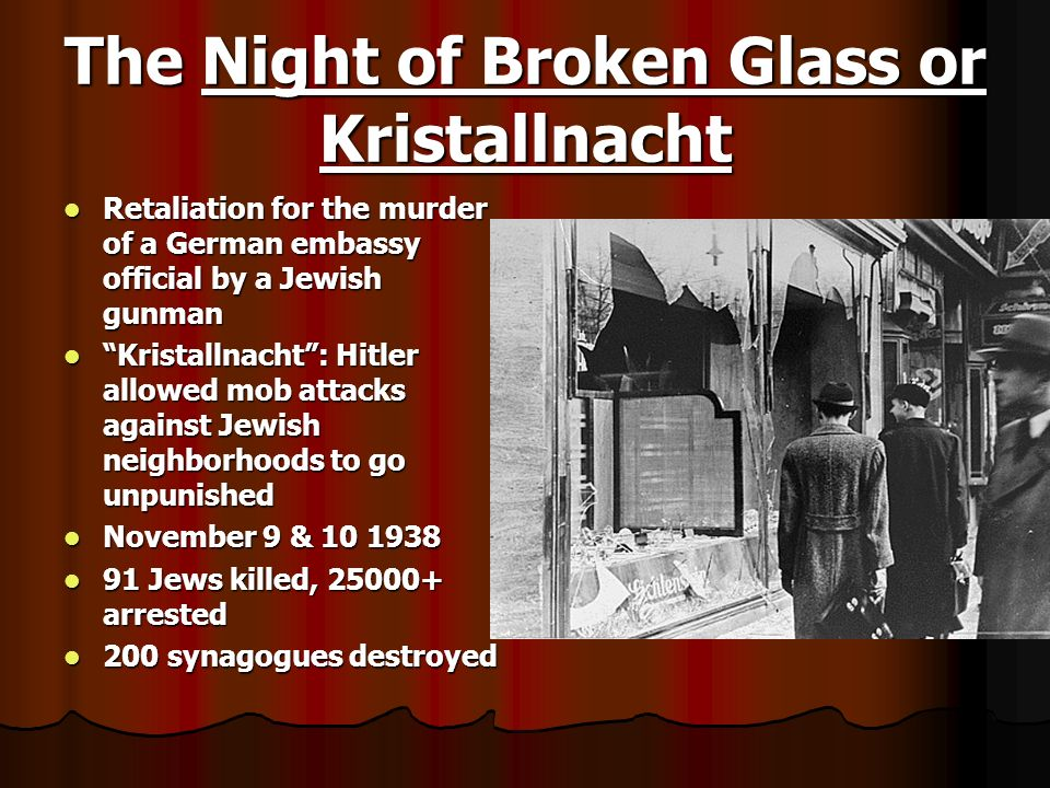 The Night of Broken Glass or Kristallnacht