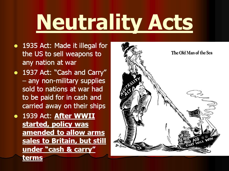 Neutrality Acts 1935 Act: Made it illegal for the US to sell weapons to any nation at war.