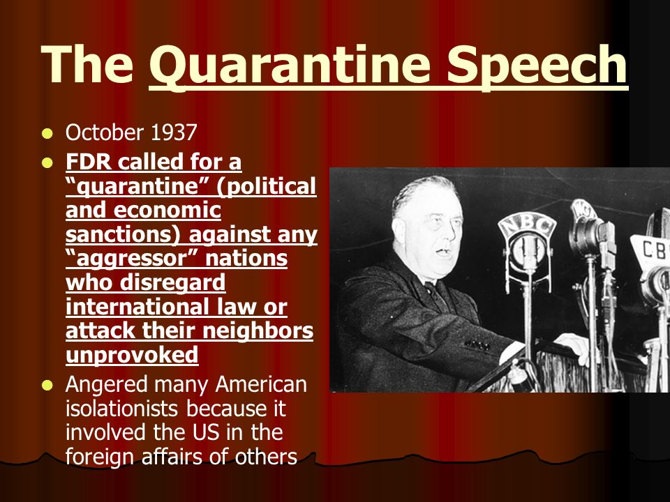 The Quarantine Speech October 1937