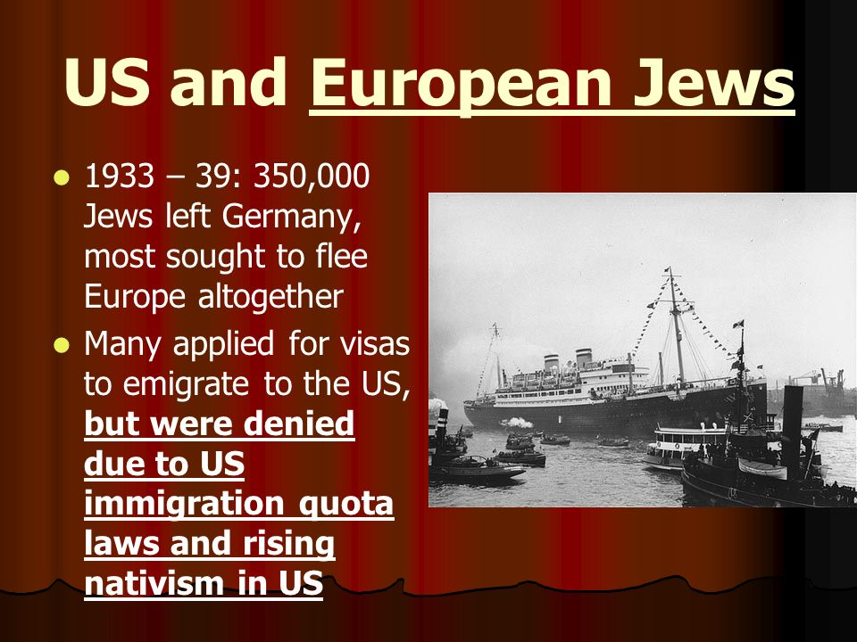 US and European Jews 1933 – 39: 350,000 Jews left Germany, most sought to flee Europe altogether.
