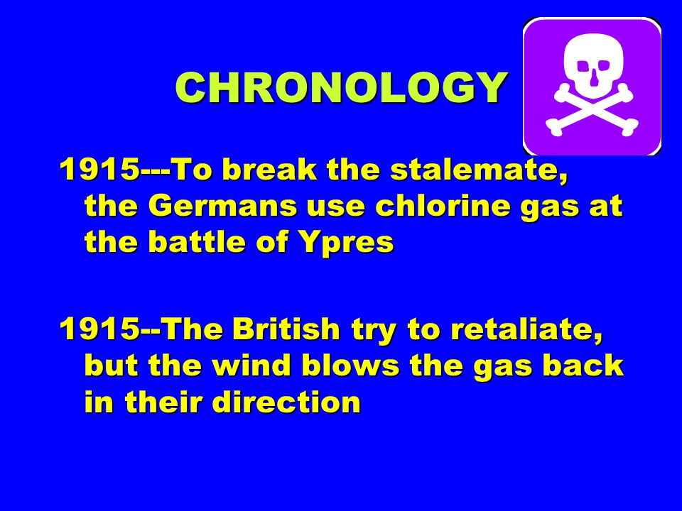 CHRONOLOGY To break the stalemate, the Germans use chlorine gas at the battle of Ypres.