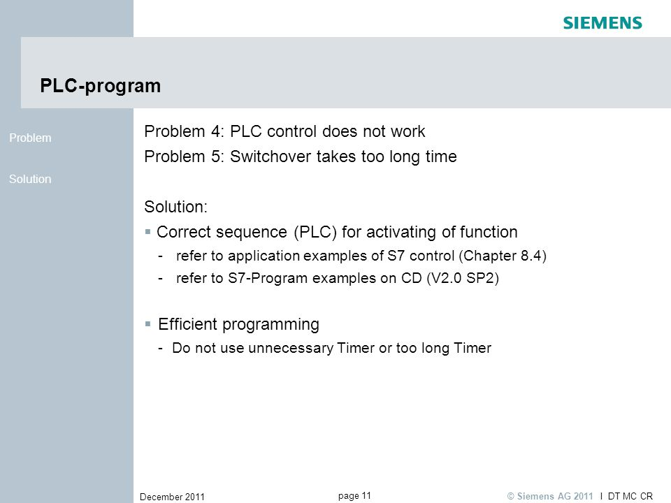 PLC-program Problem 4: PLC control does not work