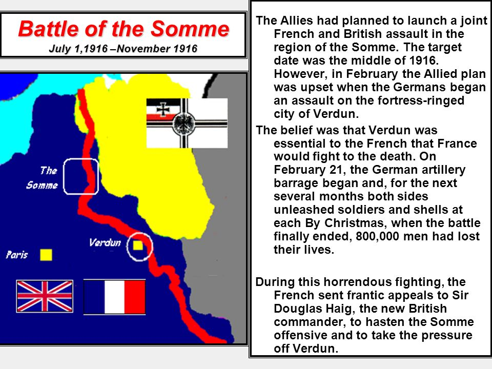 Battle of the Somme July 1,1916 –November 1916