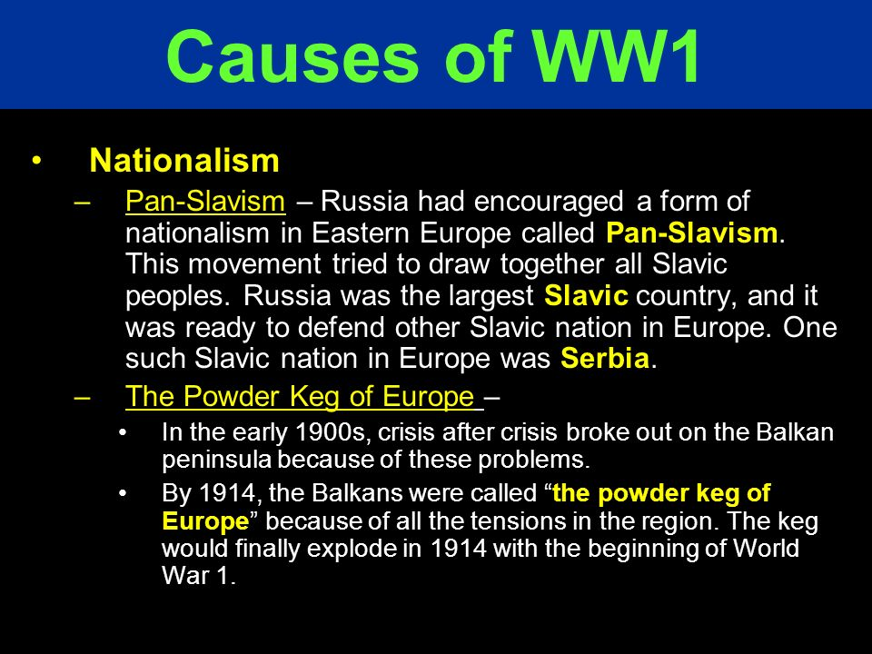 Causes of WW1 Nationalism