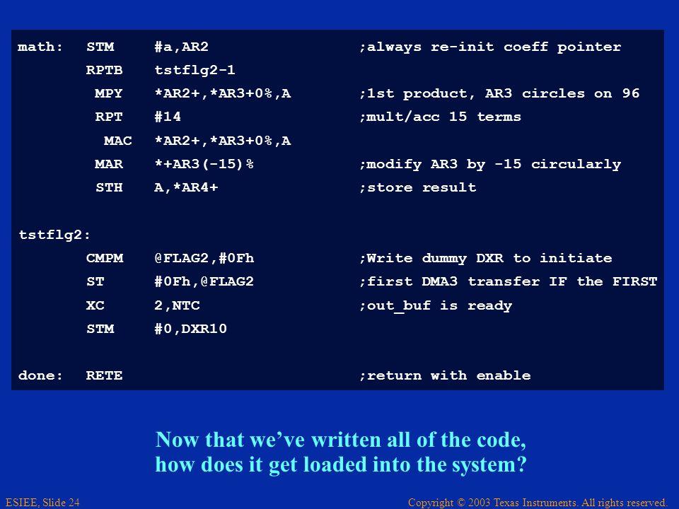 math: STM #a,AR2 ;always re-init coeff pointer